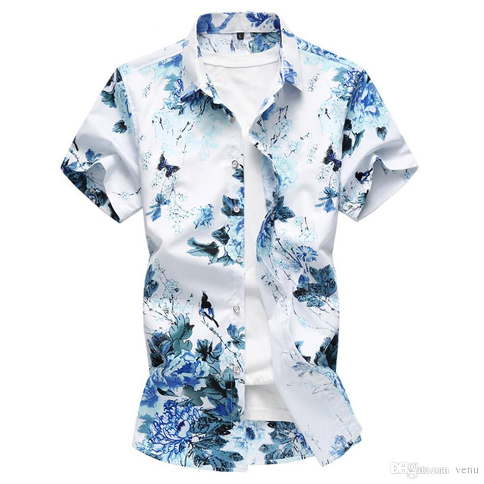 d209c65a2f7 2018 Summer Men s Shirt Fashion Chinese Style Print Short Sleeve ...