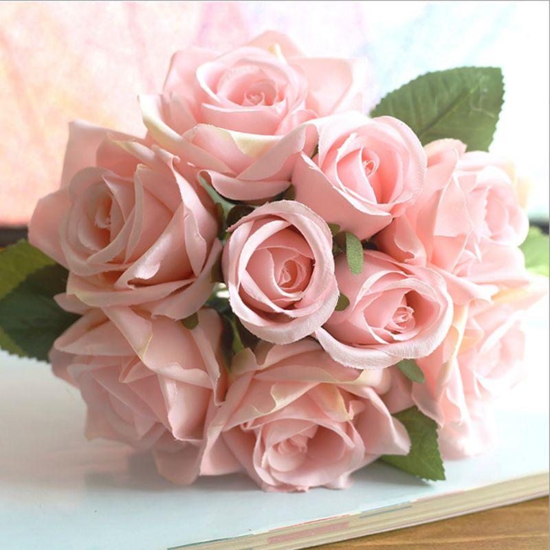 Bouton de rose 12 CM rose 1 Bottes//12 fleurs longueur 10 CM