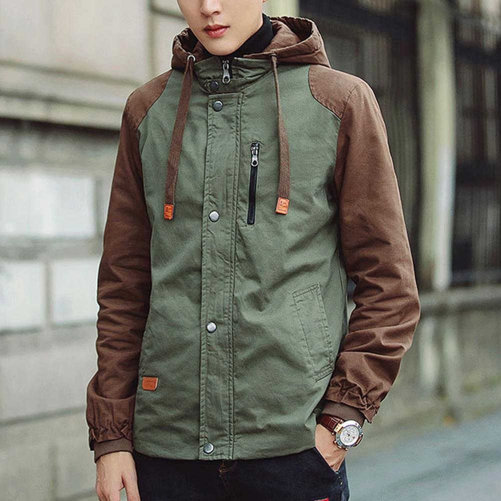 5362ceafd87 Men Spring Autumn Hooded Jackets Casual Outwear Long Sleeve Contrast Color  Plus Size Hooded Windbreaker Coat Canvas Jacket Man Jackets Blue Ja From ...
