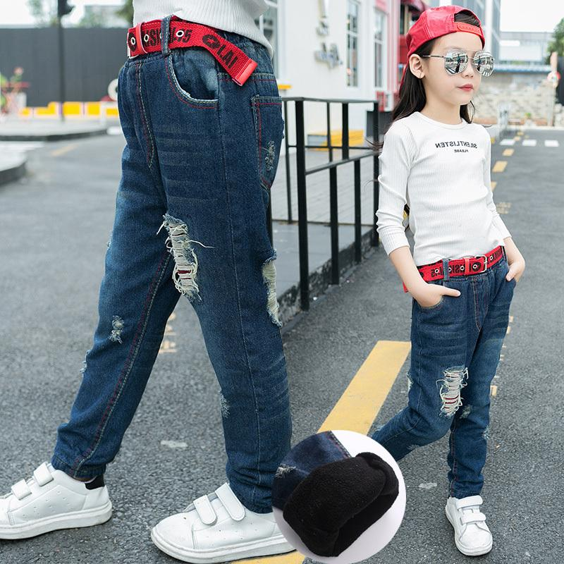 d4537a3c4 Kids Girl Skinny Jeans Autumn Big Girls Cotton Denim Pants Fleece Ripped  Teenage Trousers Elasticity Jeans For Girls 12 Years Kids In Jeans Kids Denim  Jeans ...
