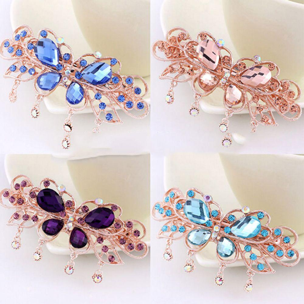 1PC Vintage Women Girls Bling Crystal Hair Clips Pins Headwear Rhinestone Hairpins Barrette Styling Tools Accessories