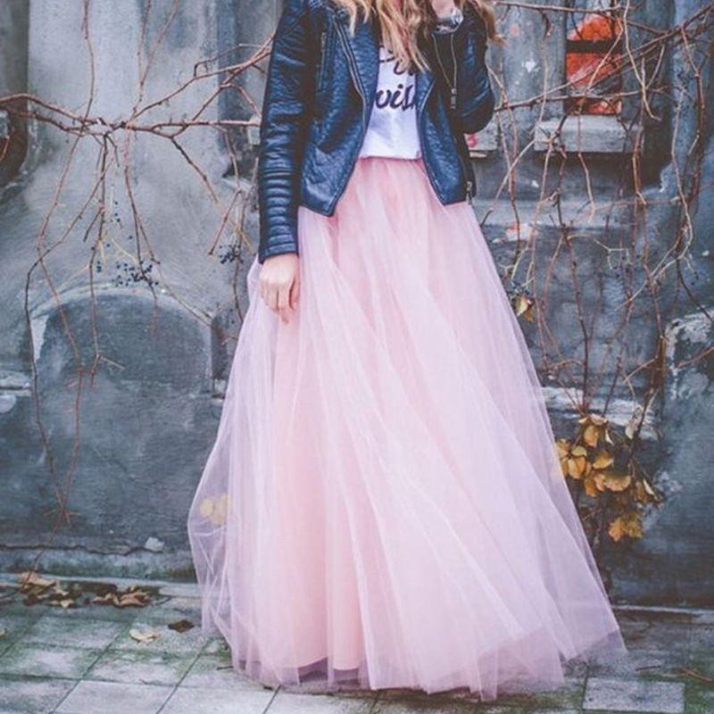 d16019e3e 2018 primavera moda para mujer de encaje princesa estilo de hadas 4 capas  Voile falda de tul Bouffant Puffy moda falda tutu largo faldas Q190413