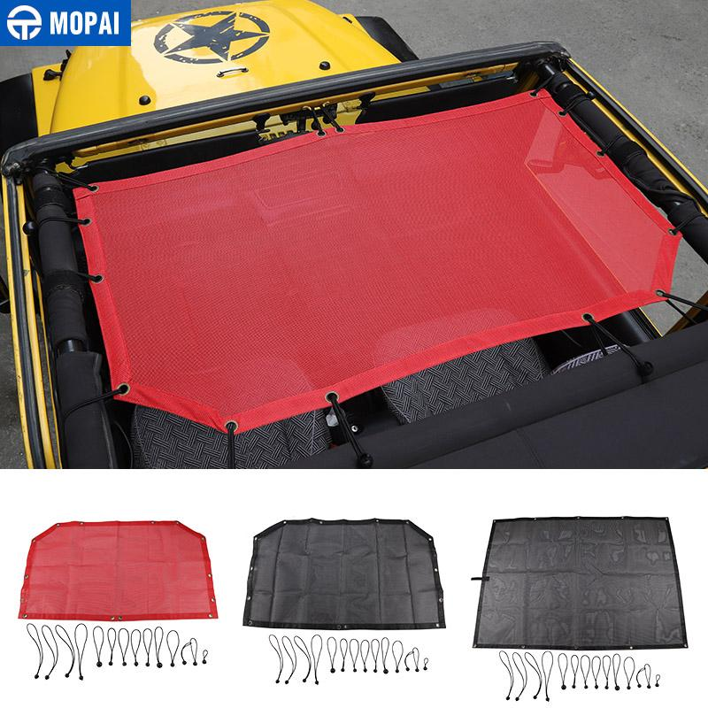 MOPAI Car Top Sunshade Cover for Jeep Wrangler 1997-2006 Roof Anti UV Sun  Sunshade Protect Net for Jeep Wrangler TJ Accessories
