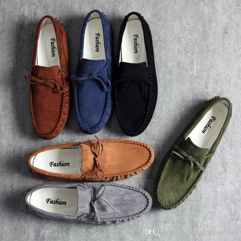 e8313b61fd0 Moccasins Gommino Driving Loafers Soft Slippers Men Flats Casual Man  Sneaker Breathable Genuine Suede Shoes 2018 Large Size  115739 Sperry Shoes  Silver ...