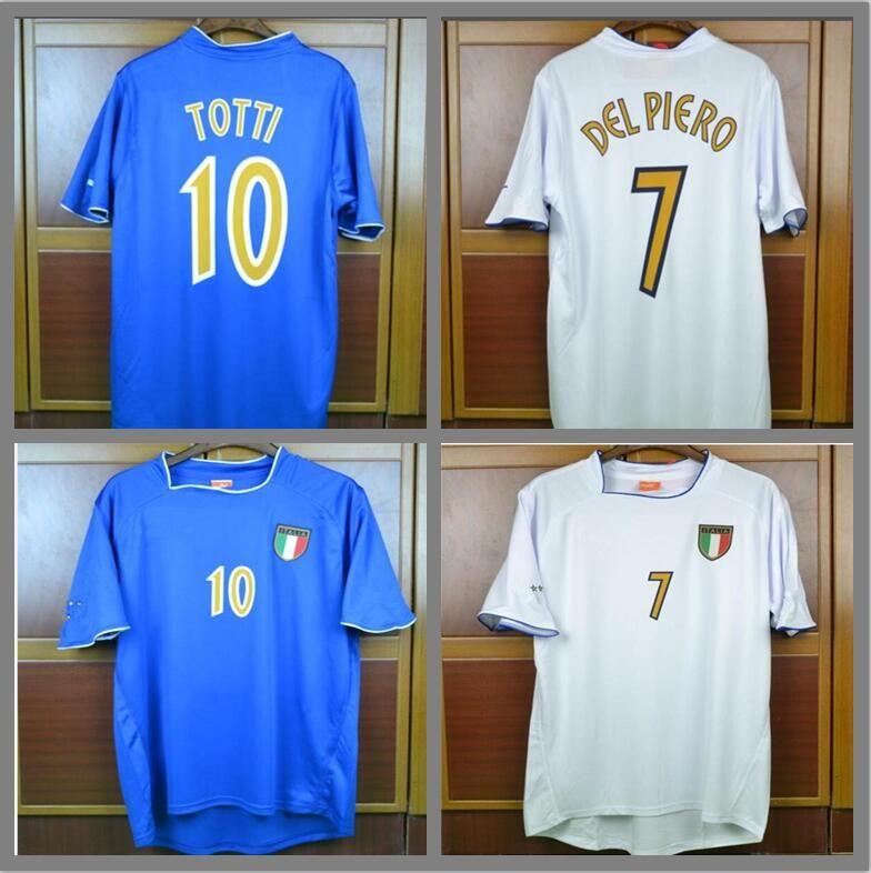 eb98f9ddbd Compre Copa Do Euro Retro Camisas De Futebol 2003 Itália Casa Fora Camisas  Brancas Del Piero Pirlo Totti Inzaghi Camisa De Futebol Clássico Do Vintage  ...