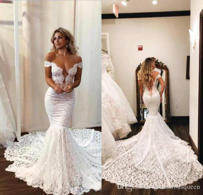 2020 Full Lace Mermaid Wedding Dresses Sexy Sheer Backless With Buttons Off the Shoulder Long Train Custom Made Bride Wedding Gowns