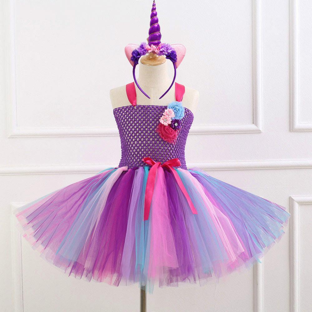 b0d63da1 Flower Girls Unicorn Tutu Dress With Headband Fancy Girl Party Dress Rainbow  Tulle Princess Dress Kids Halloween Costume Girl Flower Girl Dress Girls  Flower ...