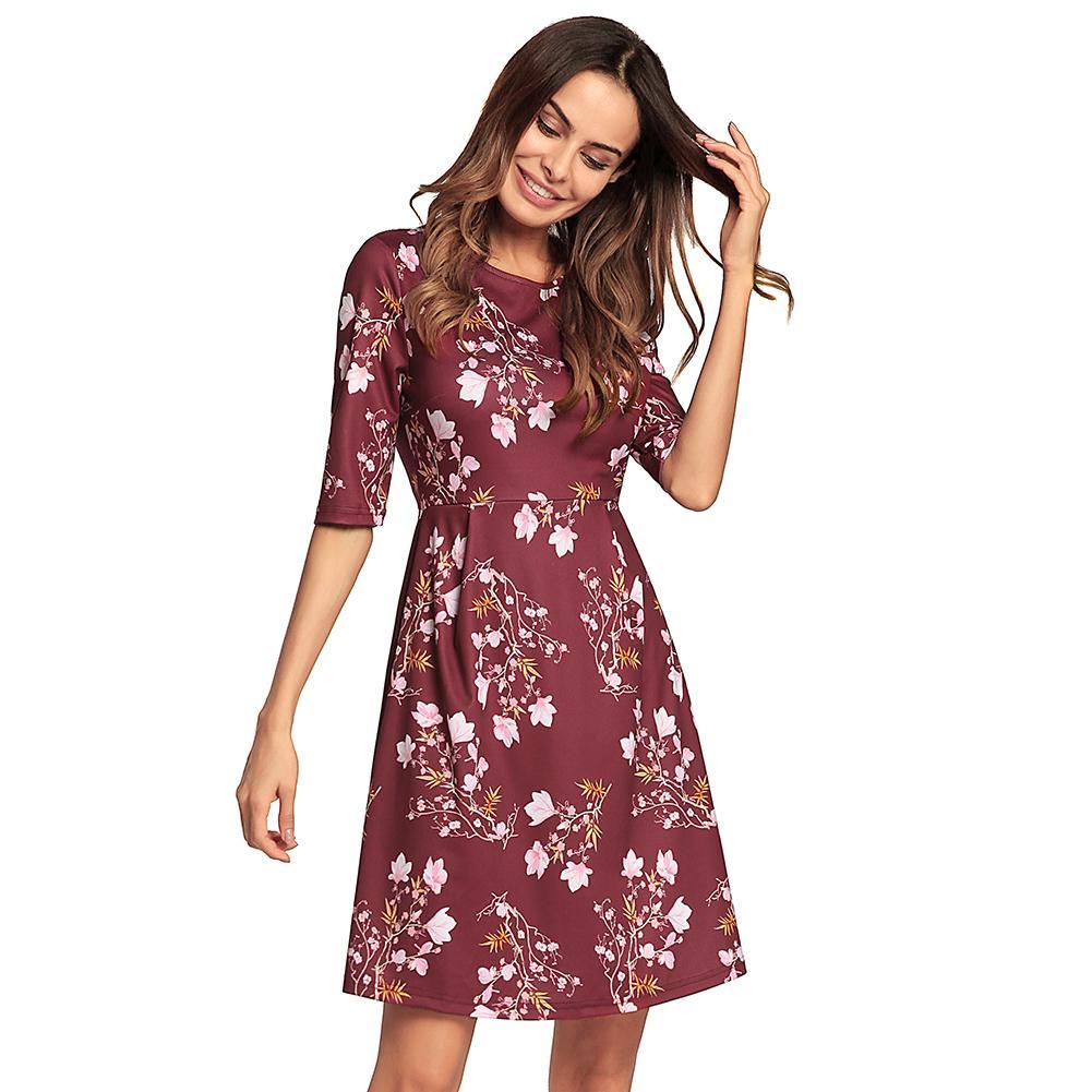 4f1b3c6533f Women Floral A Line Dress O Neck Half Sleeve Vintage Midi Dress Vestidos 2018  Summer Fashion Flare Dress Retro Robe Femme Short And Long Dress Pink  Dresses ...