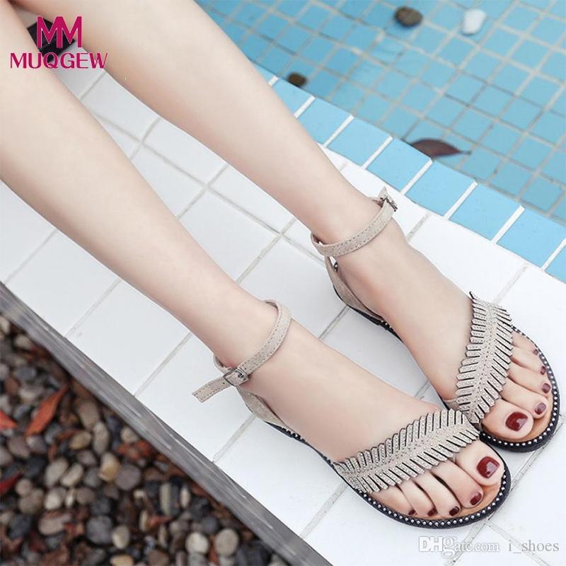Schuhe Sandale Vintage Sandalen Schnalle Zapatos Damen Flachen Flache Luxus Frauen Kappe Rutschfeste Weibliche Blätter Mujer Runde Rom F1JK3ucTl