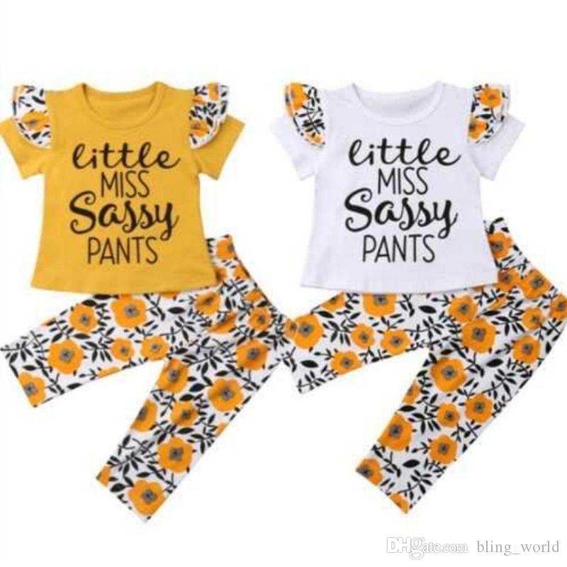 d8d335e1 2019 Baby Girls Clothes Sets Little Miss Sassy Pants Letter Shirts ...