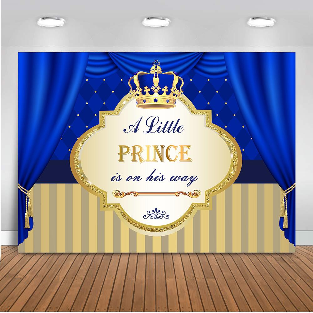 Neoback Prince Royal Boy Baby Shower Background for Party Decoration Prince Crown Backdrop for Photography Scepter Banner 487
