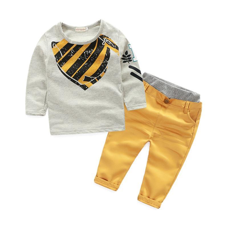 Acquista Moda Bambino Ragazzi Vestiti Bambini Manica Lunga In Cotone Grigio  Maglione T Shirt + Pantaloni Kaki 2 Pezzi Di Tendenza Abbigliamento Bambini  ... 8391a8f8690