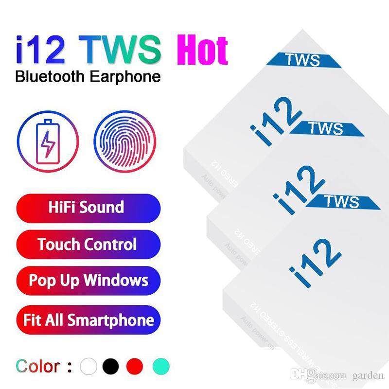 I12 Tws 5.0 auricolari delle cuffie wireless Bluetooth Supporto finestra pop-up Cuffie variopinte di vendita Auricolare Touch Control calda in azione