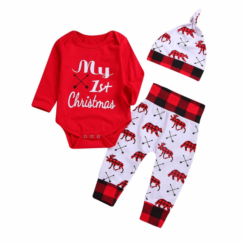 593613daf9bb 2019 Cute Newborn Baby Boy Girls Christmas Fashion Clothes My First  Christmas Letter Print Onesie + Printed Pants + Hat Baby Set From  Newestable