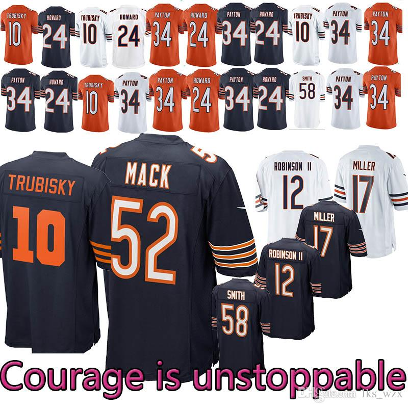 san francisco 14255 bc986 2018~19 New Chicago Bears Football Jersey 12 ROBINSONII 58 SMITH 54  URLACHER 24 HOWARD 29 COHEN 34 PAYTON 17 MILLER 10 52 Jersey
