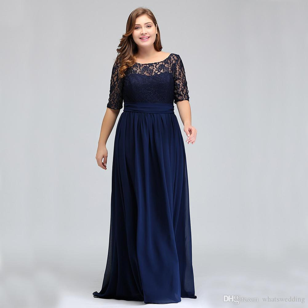 d50cfe16b6b Dark Navy Black Half Long Sleeves Plus Size Prom Dresses Lace Top A Line  Chiffon V Back Mother Of Bride Dresses Cheap Gowns Lds Prom Dresses Long  Lace Prom ...