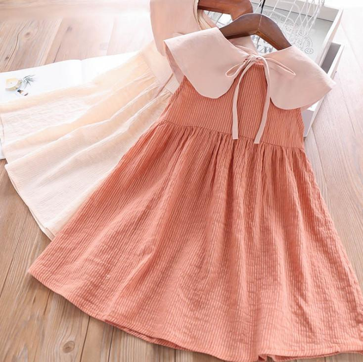 06b0444d8eac7 Summer kids dress Fashion vertical stripe Girls pleated dress lace-up Bows  removable falbala lapel 2019 new children princess dress Y1772