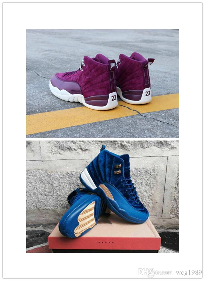 hot sale online 34101 54cf1 Newest 2019 High Quality 12 12s Blue and Purple Suede Gym Basketball Shoes  Men Women Taxi Flu Game Sneakers size 36-47