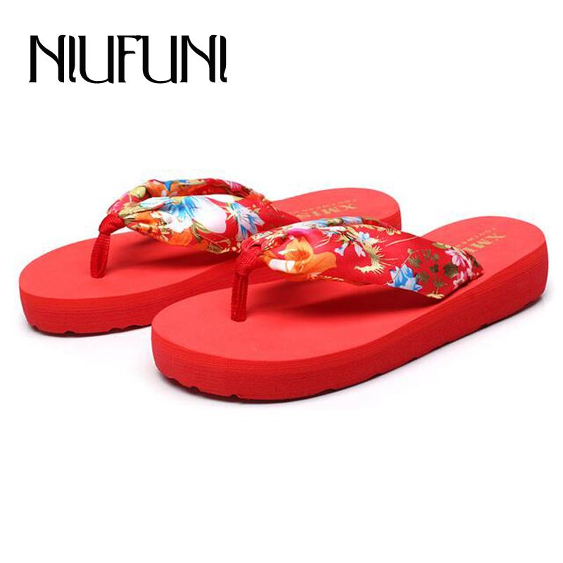Flower Print Casual Women's Slippers 2018 New Beach Platform Shoes Woman Summer Cloth Plus Size 35-42 Females Flip Flops
