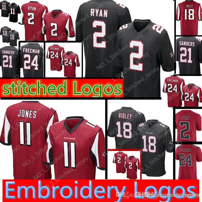 ed4dc88c Atlanta Falcons #11 Julio Jones 2 Matt Ryan 18 Ridley Jersey Mens 21 Deion  Sanders 24 Devonta Freeman Football