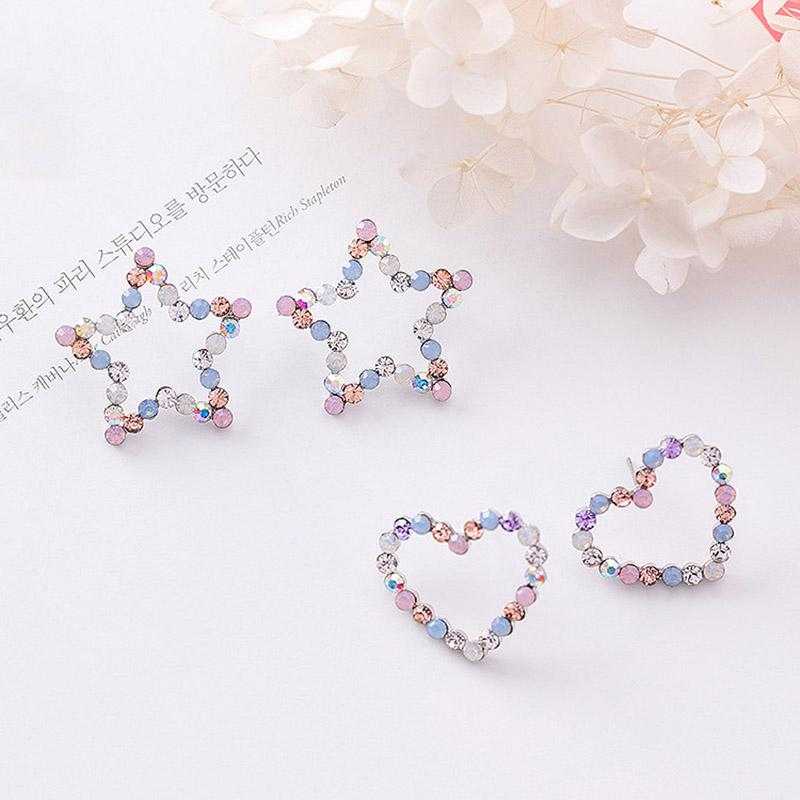 Sale Korean Hollow Multicolor Rhinestone Star Love Heart Stud Earrings for Women Cute Girl Ear Jewelry Brinco Gift