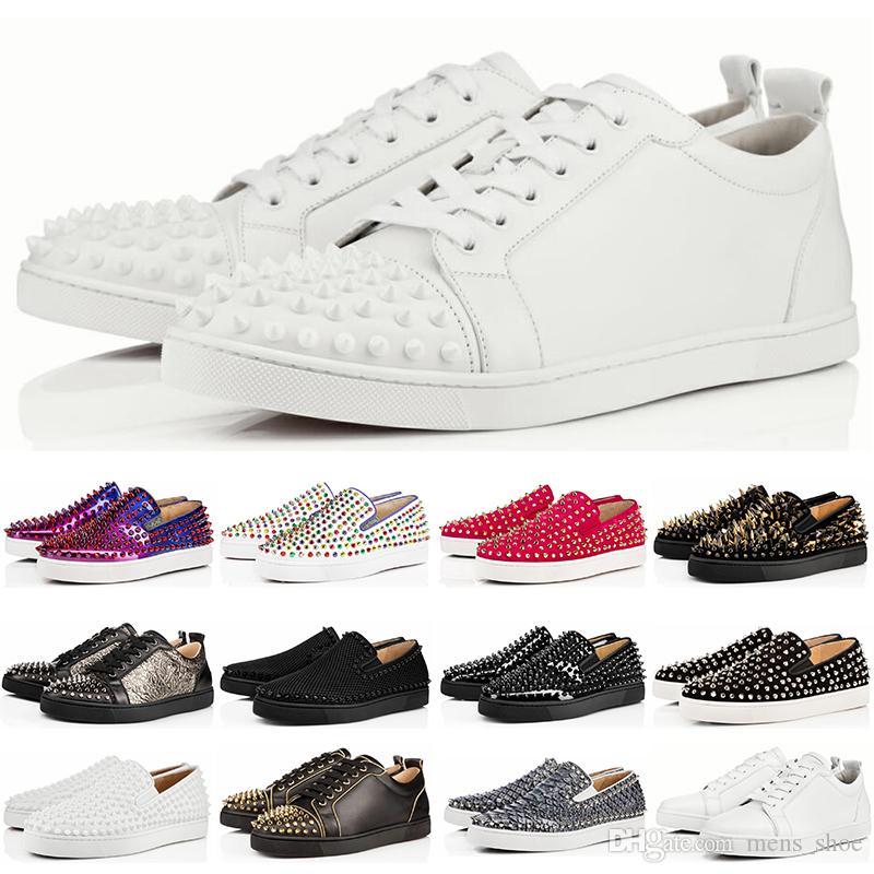 new product b8781 c3c7b Designer Sneakers Rote Untere Schuhe Low Cut Wildleder Spitze Luxus Schuhe  Für Männer und Frauen Schuhe Hochzeit Kristall Sneakers Größe 36-45