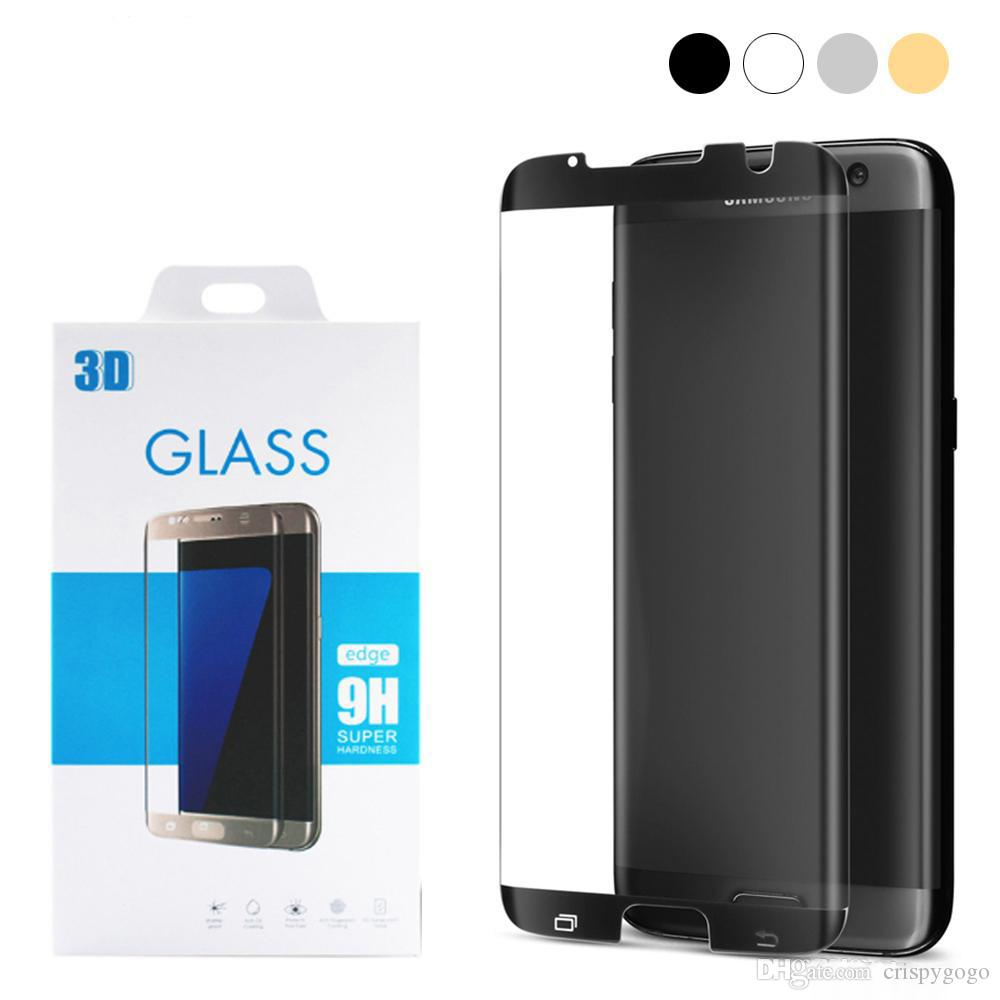 For Samsung Galaxy S7 Edge S8 S9 Plus Note8 3D Full Cover Round Curved  Surface Screen Protector S7edge Case Free Friendly Tempered Glass