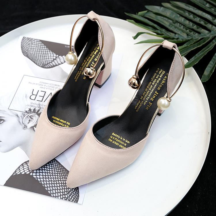 e201dc0f0fd8 2019 Spring New Korean Wild Suede Pointed Thick With Single Shoes Sweet  Comfortable Womens Shoes Temperament Elegant High Heels Dansko Shoes Tennis  Shoes ...