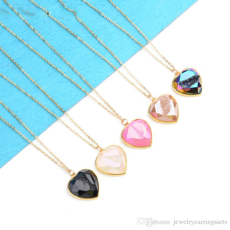 Trendy Heart Natural Druzy Pendant Gold Chain Necklace Handmade Adjustable Drusy Stone Jewelry Boho Short Choker Necklace