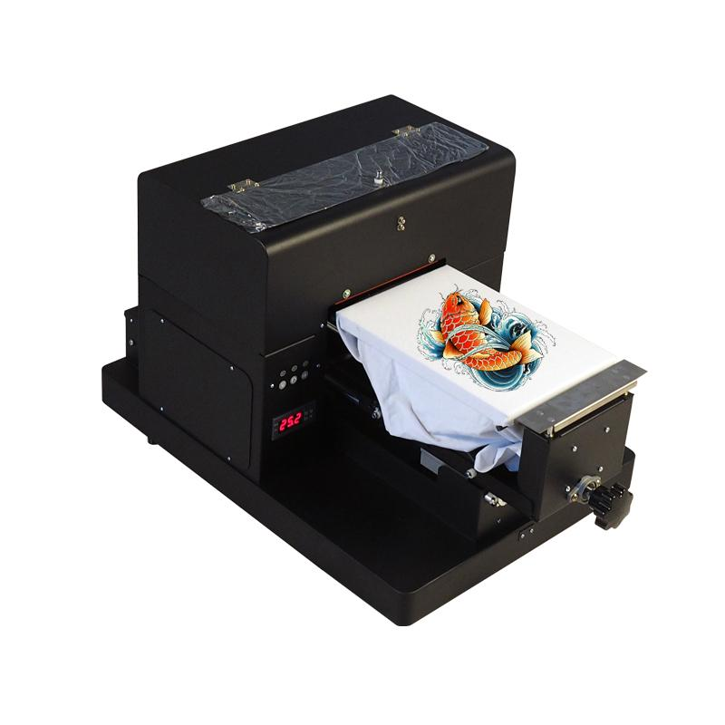 A4 Size DTG T-Shirt Printer to Print Dark Light Color Garment Flatbed Printer machine