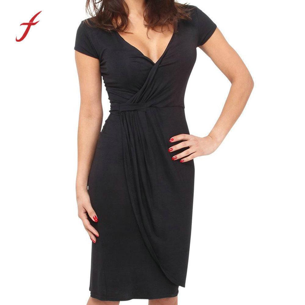 6fda463d786a0 Feitong Summer Bodycon Deep V-neck Casual Solid Color Women Party Short  Sleeve Dress Vestidos Mujer 2019 C19042201