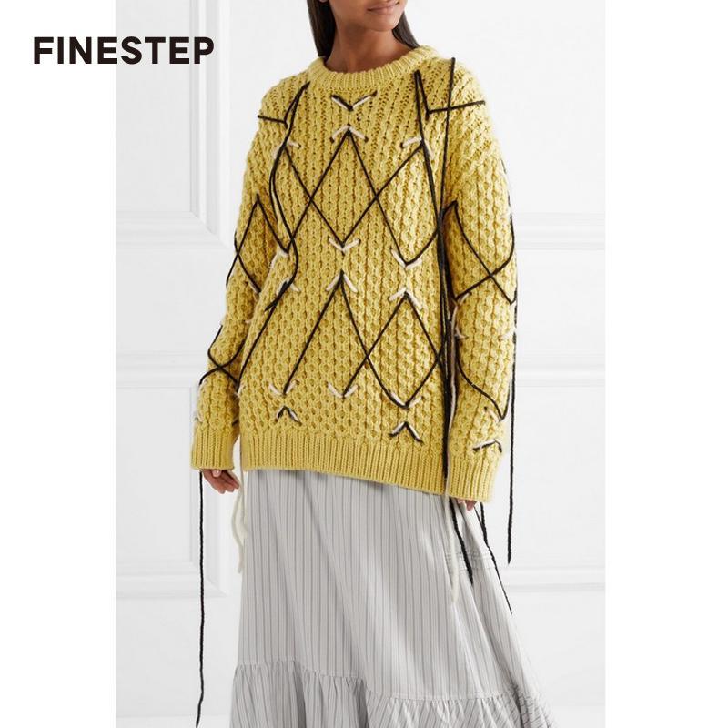 Compre 100 Suéteres De Lana Para Mujer Suéter Amarillo Punto De Marca De  Lujo Suéter Mujer Con Línea Cruzada A  230.84 Del Dalivid  2d272d4a7bea