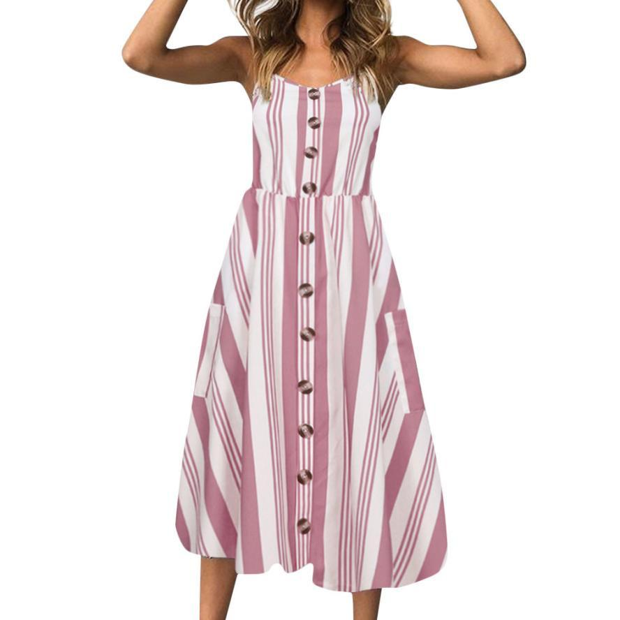 3298b699b347 Women Casual Vertical Striped Dress Pockets V Neck Midi Dresses Ladies  Summer Sleeveless A Line Dress #10 Black Women Clothes Clothing Dress From  Illusory10 ...