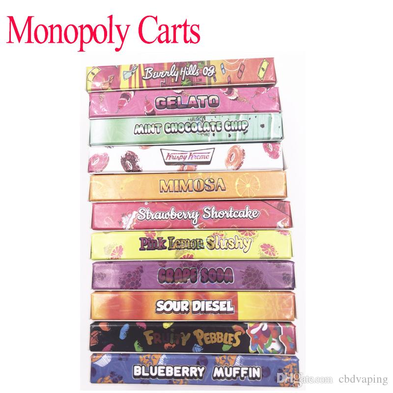 2019 Newest Flavors Black Monopoly carts Dank Vapes Cereal Carts New  Holographic Side Window Packaging Box 1 Gram ML Dank Vape G5 Cartridge