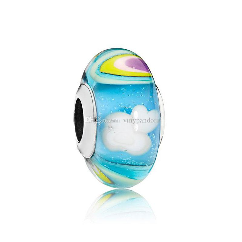 fb04dcff2 S925 Sterling Silver Threaded Screw Iridescent Rainbow Murano Glass ...