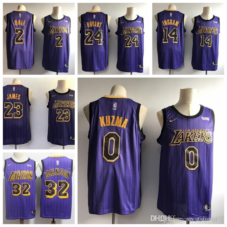 new concept 5bf27 df348 2019 LeBron James Laker Jersey The City Los Angeles Kobe 24 Lonzo 2 Ball  Kyle 0 Kuzma Brandon 14 Ingram Basketball Jersey NEW Purple black