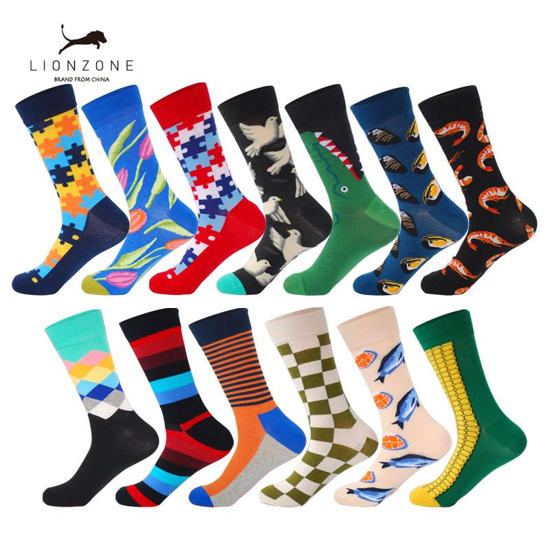 Underwear & Sleepwears 2019 New Fashion 9 Colors Striped Plaid Cherry Socks Men Combed Cotton For Spring Autumn Winter High Quality
