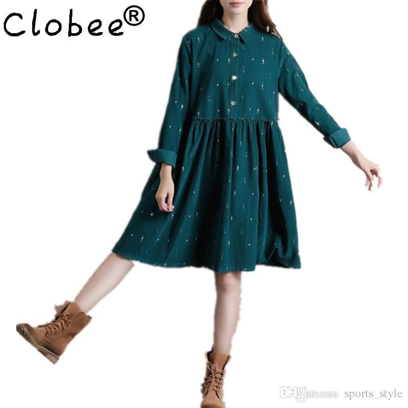 9b8d40131d Clobee Winter Dresses Green Color Long Sleeve Loose Plus Size Dresses Turn  Down Collar Corduroy Cotton Dress A Line Lolita Dress  493053 Tight White  Dresses ...