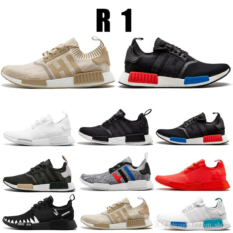 cd718a110 Cheap 2019 Hot Brand NMD R1 Oreo Runner Nbhd Primeknit OG Triple Black White  Running Shoes Men Women Nmd Runner Sports Shoe Size 36-45