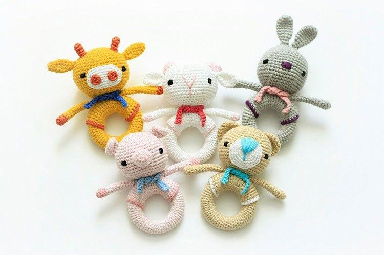 animal love many style Inspired Rattle/ Plush Toy/ Stuffed Toy / Soft Toy/Amigurumi Toy
