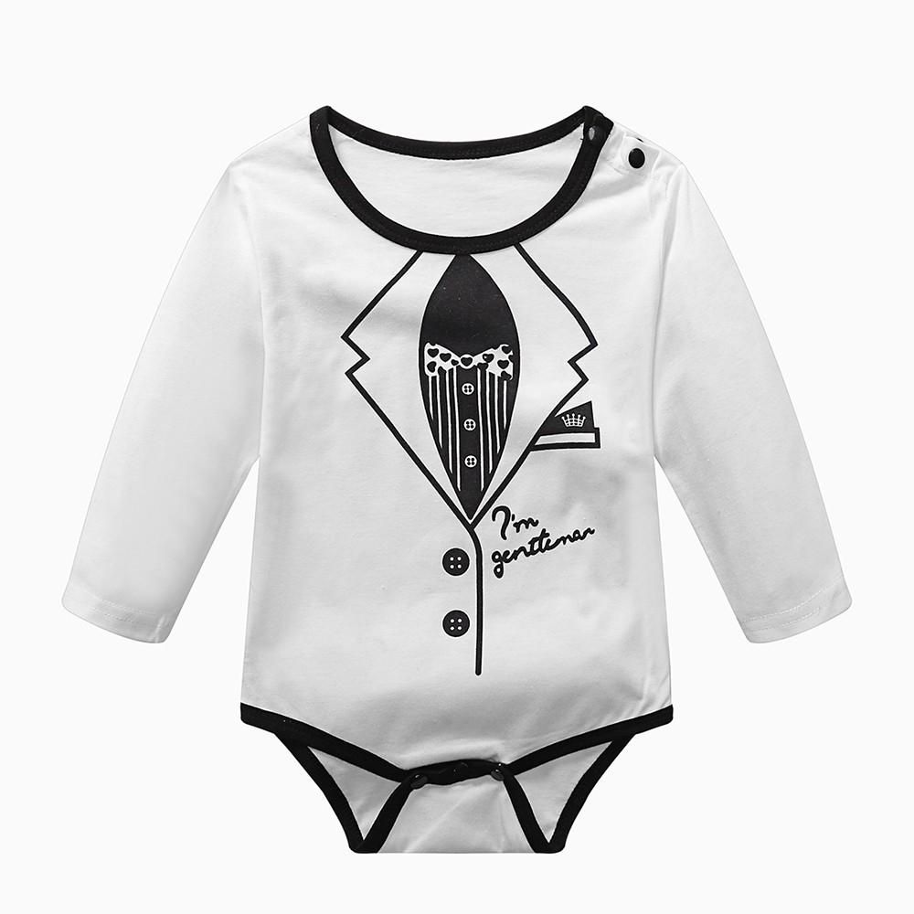 ae143c330528a Newborn Toddler Jumpsuit Infant Baby Boys Romper Baby Boys Gentle Style  Letter Print Rompers Outfits Clothes
