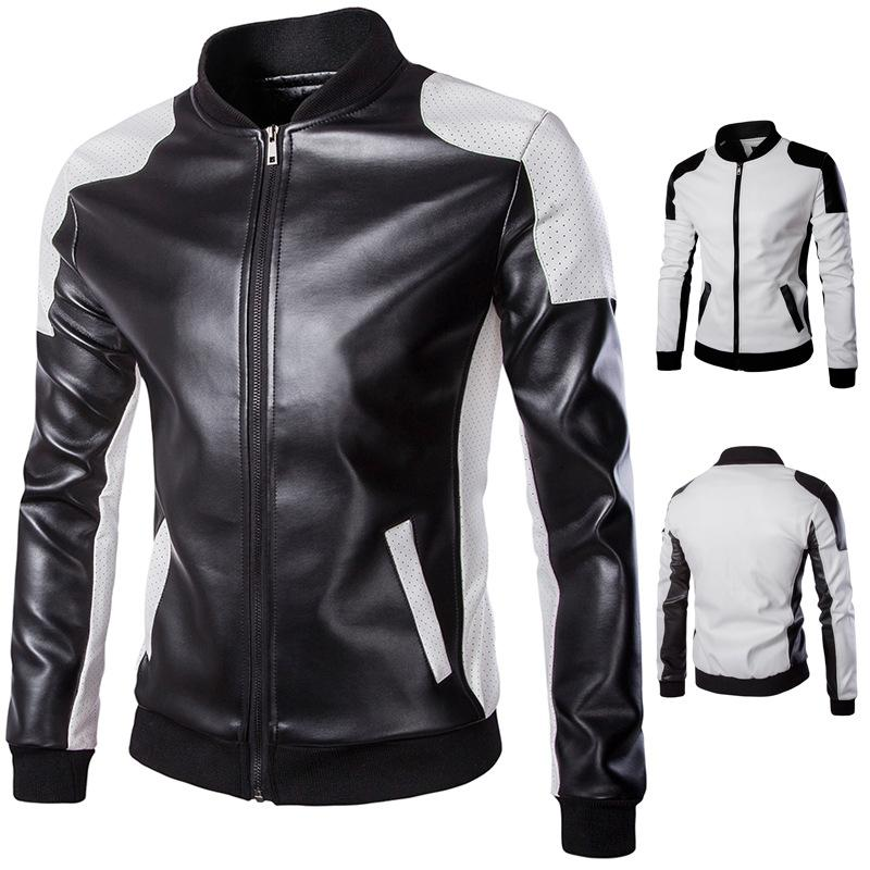 ebc6c487e5c2 2018 spring new men s stand collar leather trend black and white color  matching large size leather jacket M-5XL Y668