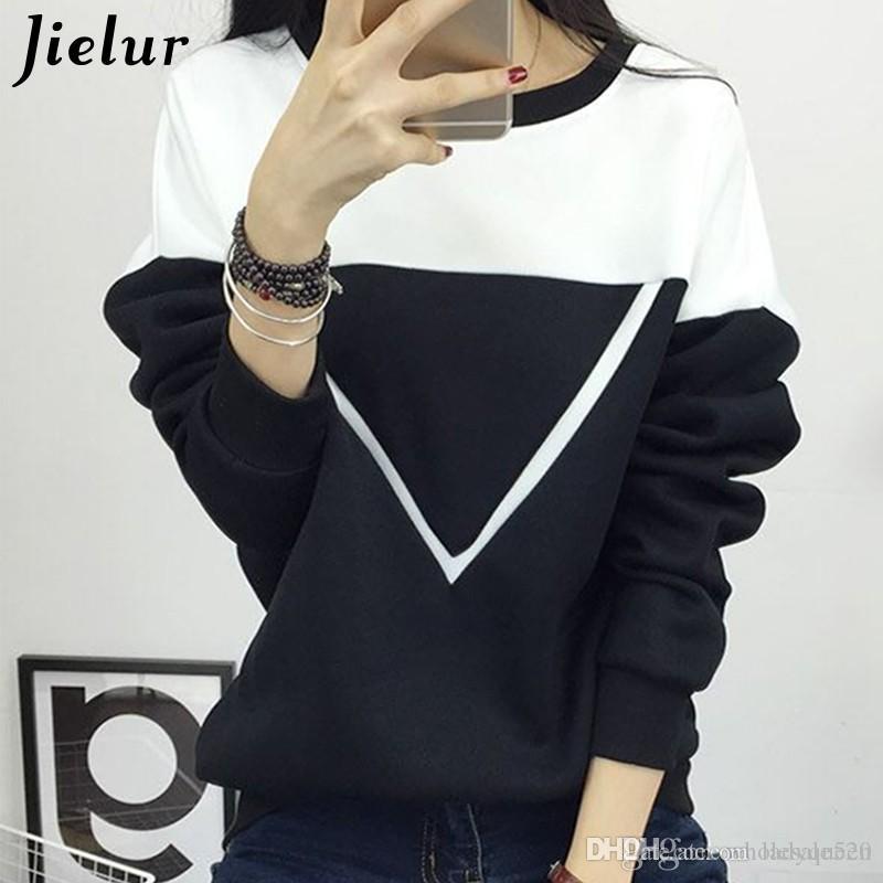 2018 Invierno Nueva Moda Negro y Blanco Hechizo Color Patchwork Hoodies Mujeres V Patrón Pullover Sudadera Mujer Chándal M XXL