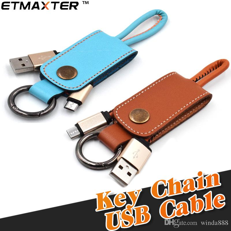 Keychain Charger Cable New Leather Durable USB Cable Portable Micro  Lightning Cable For Iphone X Xs Max Samsung Galaxy Note 9 Cheap Phone  Cables Phone ... 2b6ca3217185