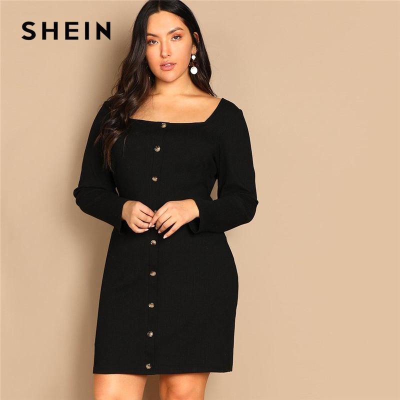 51e0f13dd9 SHEIN Black Buttoned Long Sleeve Casual Plus Size Bodycon Short Dress Women  Spring Office Stretchy Slim Fit Mini Dress Dresses For Womens Designer  Cocktail ...
