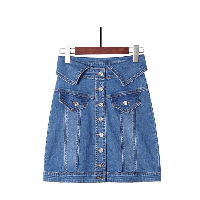 388c8e9aa Nuevo estilo de verano Faldas para mujer Talla grande Moda Casual Turn-Down  Cintura sobre las caderas Jeans Falda para las mujeres Faldas largas de ...