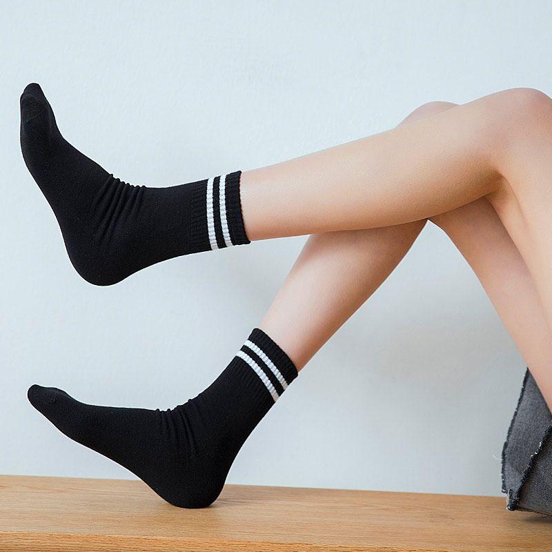 NEW Classic Women Girls Two Stripes Cotton Socks Retro Old School Student  Hiphop Skate Fashion white harajuku Korean