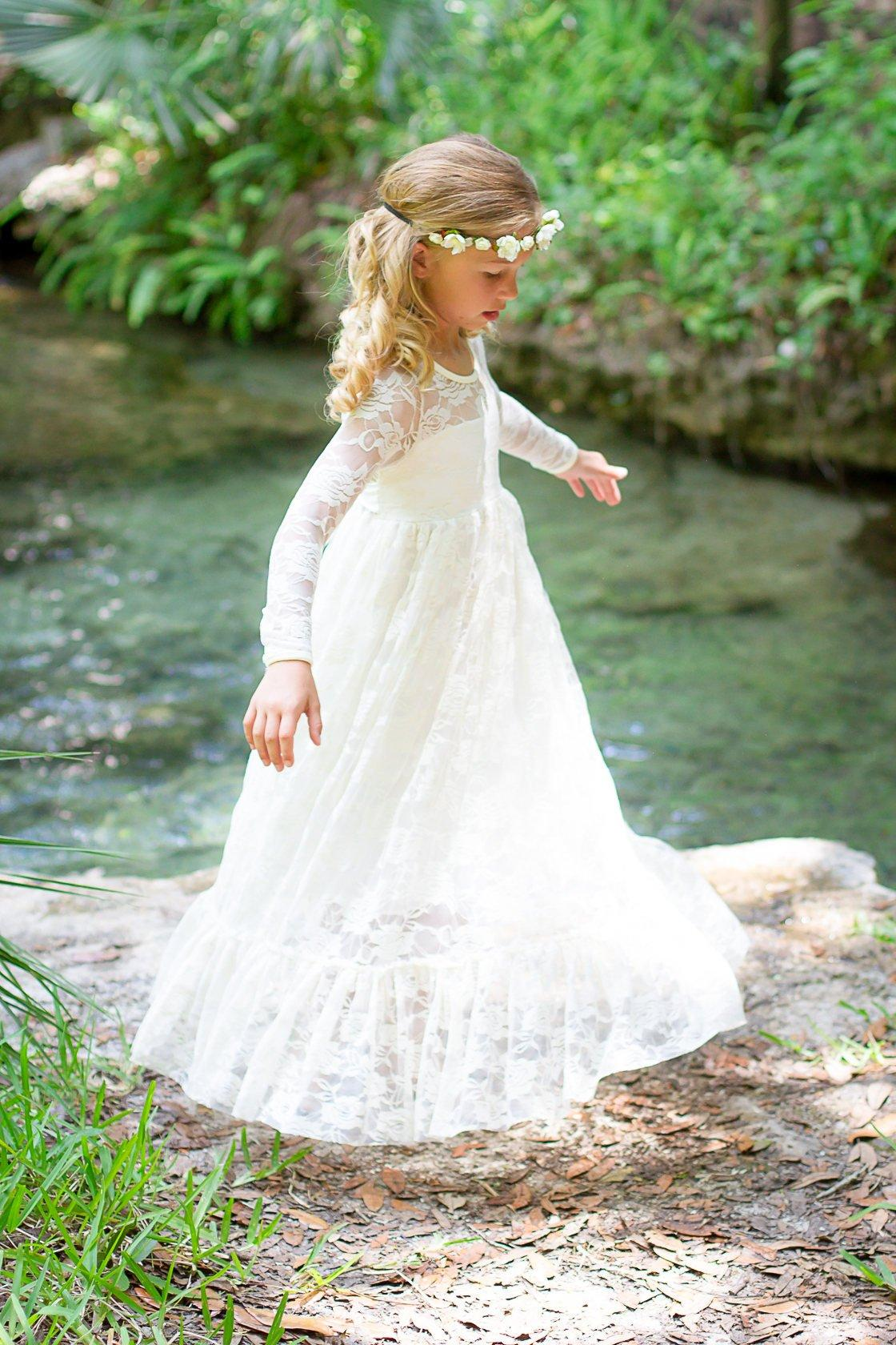 69b501d10a6a Flower Girl Dress Lace Long Sleeve Little Girl Baby Flower Girl Cute White  Ivory Girls Cream Rustic Wedding Dress Formal Occasion Dress White Flower  Girl ...