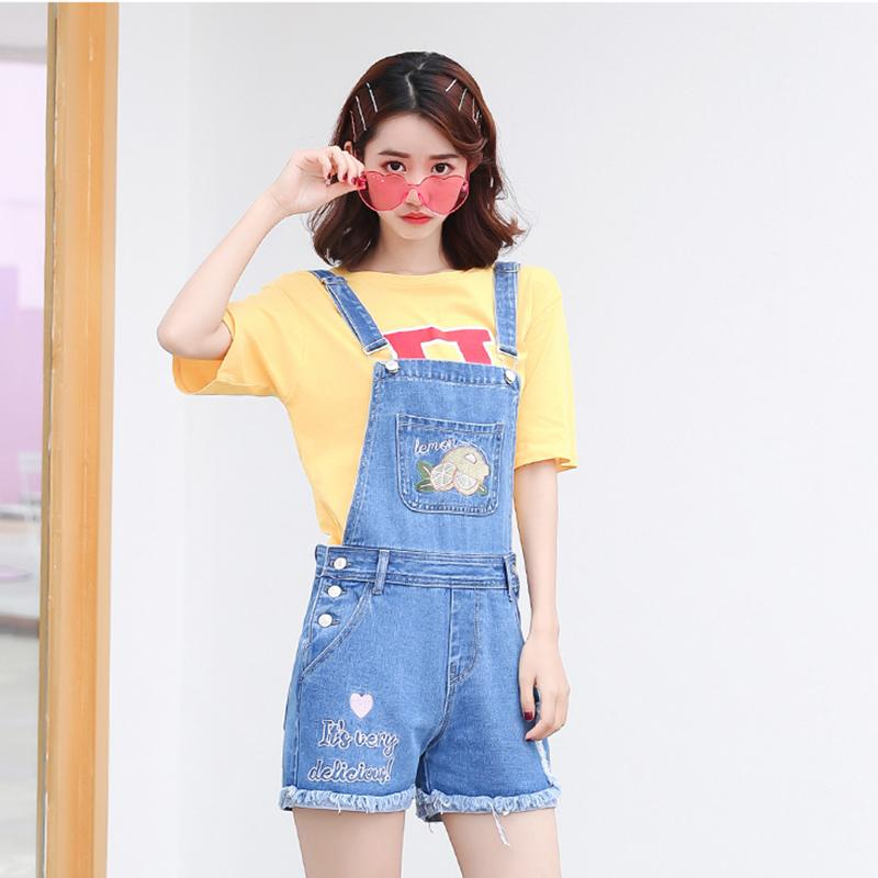 b22af2a4d3b Best selling top streetwear women s New lemon embroidery Harajuku kawaii  Overalls for women plus size denim playsuit