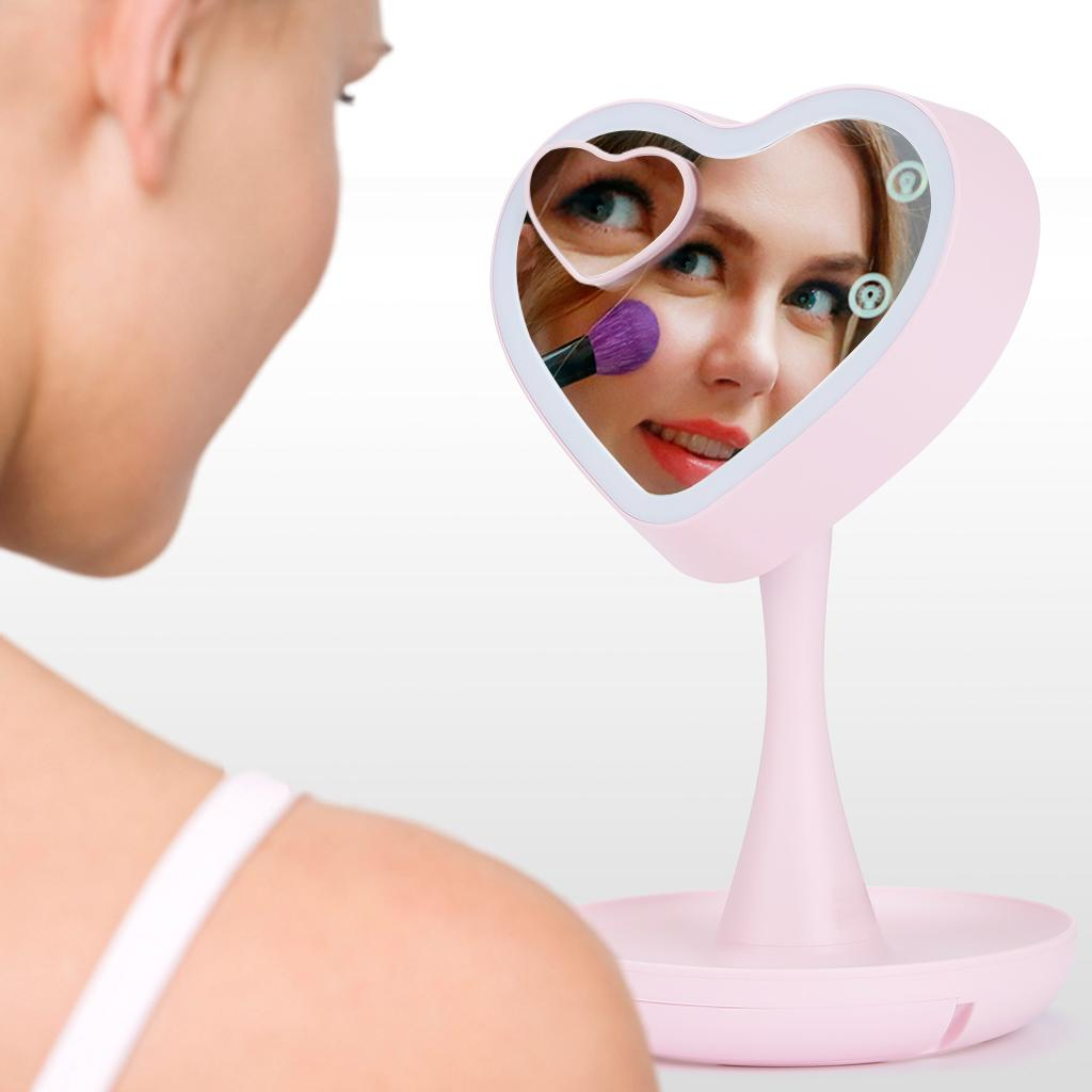 Ovonni 3-In-1 LED Lighted Makeup Mirror with 3X Magnifying Vanity Mirror Bed Lamp 7-Color-Changing Mood Light
